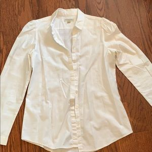 white Burberry London patterned button down shirt